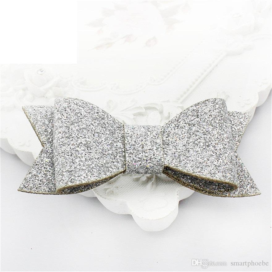 Hot Sale Handmade Fashion Cute Glitter Hair Bow Hairpins Solid Bowknot Hair Clips Princess Headware Hair Accessories