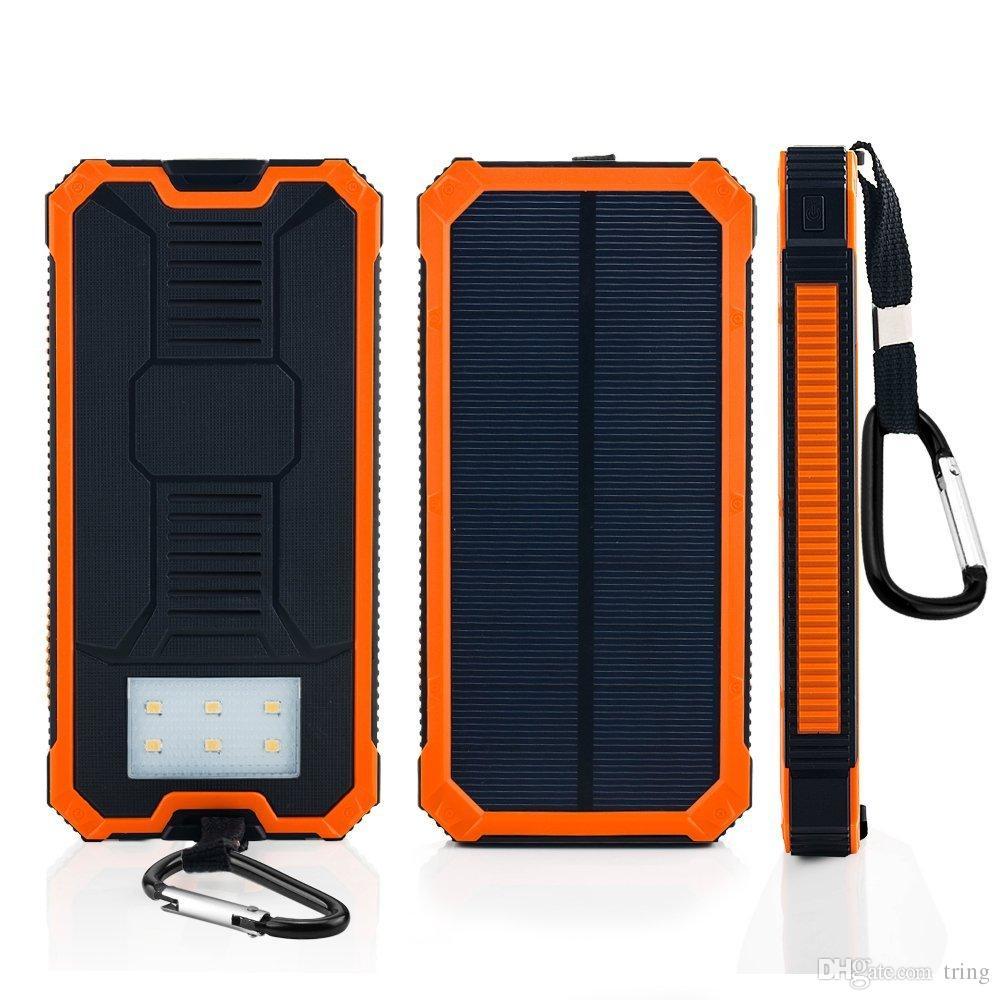 Novo banco de energia solar 20000 mah carregador solar à prova d 'água bateria externa dual usb camping powerbank carregador de bateria portátil led luz