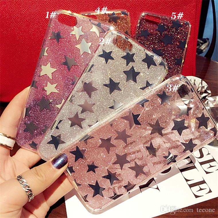 Cute Bling Gold Stars TPU Phone Case Soft Back Cover For IPhone5/5s/6/6s 7/7plus With DHL Shipping