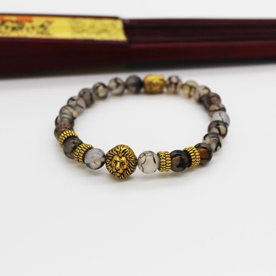 SN0630 Nueva Pulsera De León Y Buda Gold Spacer Gold Buddha Gold Lion Stretch pulsera Black Line Agate Mala Buddha Bracelet