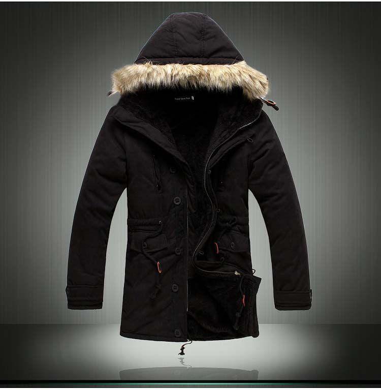 Erkek Aşağı Parkas Son Derece Kalın Kış Ceket Uzun Parkas Erkekler 2014 Pamuk Dış Giyim Parka kış Erkek Marka Kürk Ceket