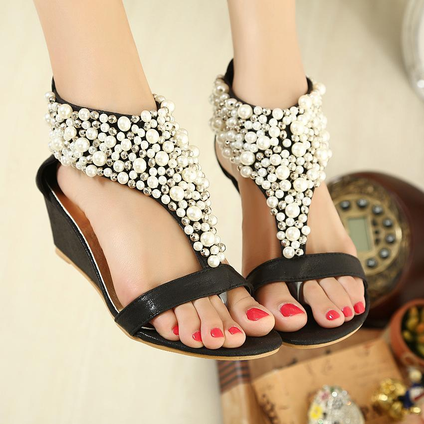 buy cheap really visit sale online Hot-Selling Summer Pearl beaded Wedges Sandals Shoes Fashion Women Sandals Flip Flops Flat Shoes Open Toe Shoes Black+Gold PNfBw