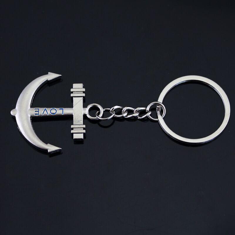 / set Trendy Silber überzogene Legierungsgeschenk 2in1 Geliebthelmruder Keychain Paar-Anker KeyChain Beschriftungs-Liebes-Schlüsselketten-Ring-Anhänger y051