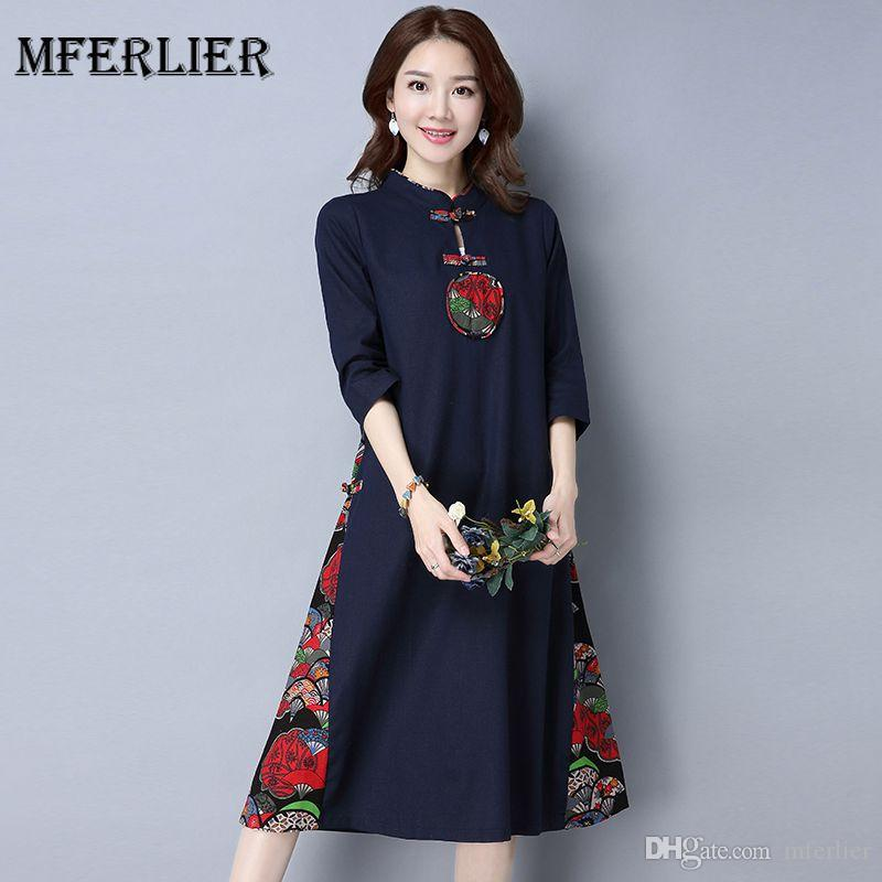 b8c567a35e5 Autumn Winter Vintage Dress Stand Collar Plate Buckle Three Quarter Sleeve  Floral Print Patchwork Vestidos Femininos Women Dresses Dresses for Women  Autumn ...