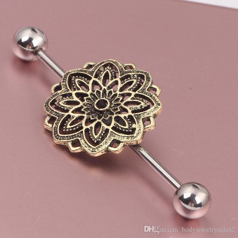 مجوهرات الصلب زهرة الصناعية الحديد ثقب حلق الزنمة الغضروف خواتم الجسم اللولب مربط القرط مهاجم