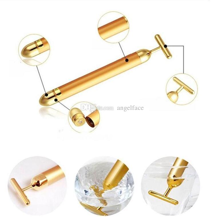 Technology From Japan 24K Beauty Bar Golden Energy Face Massager Beauty Care Vibration Facial Massager Slimming Face wtih box gift
