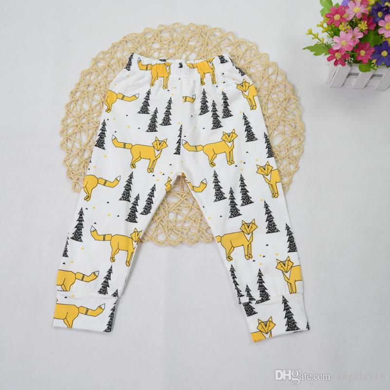 DHL 29 style kids INS Lemon pp pants baby toddlers boys girls fox tent feather wheels geometric figure fruit trousers Leggings E545