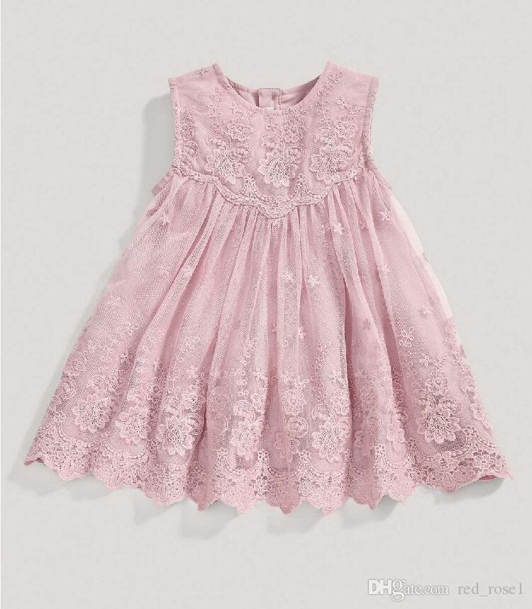 baby flicka barn fest klänning koreanska tjejer sommar ärmlös spets klänning barn prinsar barn kläder klänningar för tjejer julparty klänningar