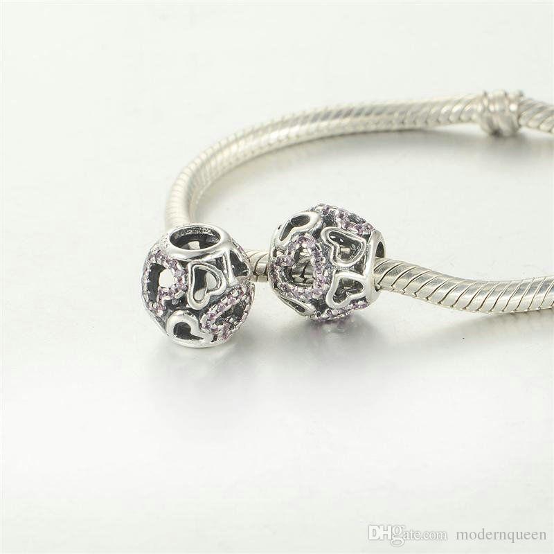 Charms del cuore galleggiante Swarovski perline gioielli la fabbricazione di gioielli in argento 925 fascini fai da te si adattano braccialetto e collana