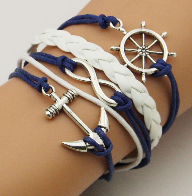 Black Friday Thanksgiving handcraft weave bracelets anchor and rudder multilayer leather bracelets 2018 hotsell whosale B