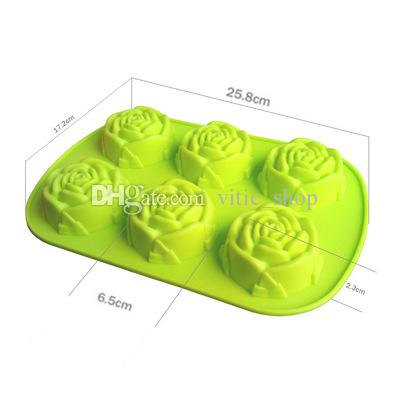 Silicone Chocolate Mold Rose Cake Molds Heat Assistance Soap Mold Red Cake Mold Ice Cube Trays 6 Cavties Silicone Baking Cupcake Molds GJM73