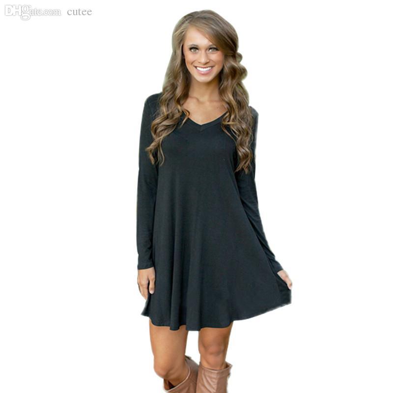 Wholesale Women Winter Long Sleeve Casual T Shirt Dress Autumn ...