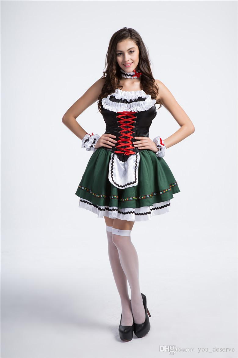 2017 New multi-Size Maid Dress Oktoberfest Beer Girl Sexy Cosplay Halloween Costumes Club Performance Clothing Hot Selling