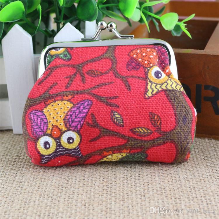 New cartoon owl coin purses lady canvas small coin purses B11