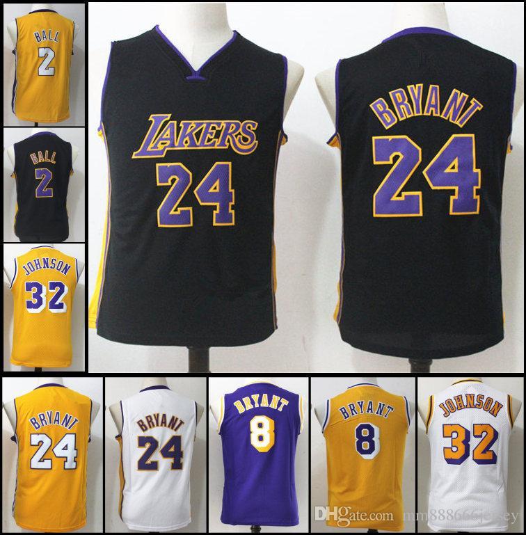 f469479912f 2019 Los Angeles Youth Kids White Purple Yellow Laker 24 32 Magic Johnson 2  Laker Lonzo 8 Kobe Bryant Stitched Basketball Jerseys From Mm888666jersey