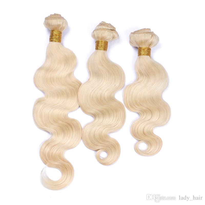 # 613 Blonde Russian Virgin Armadura de cabello humano 9A Grado Virgin Russian Platinum Blonde de cabello humano Onda corporal Paquetes de cabello ondulado