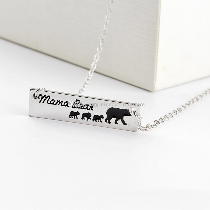 Fashion Jewelry Mama Bear Baby Bear Pendant Necklaces For Women Girls Cute Silver Long Chain Gifts for Mom Wife Mother's Day