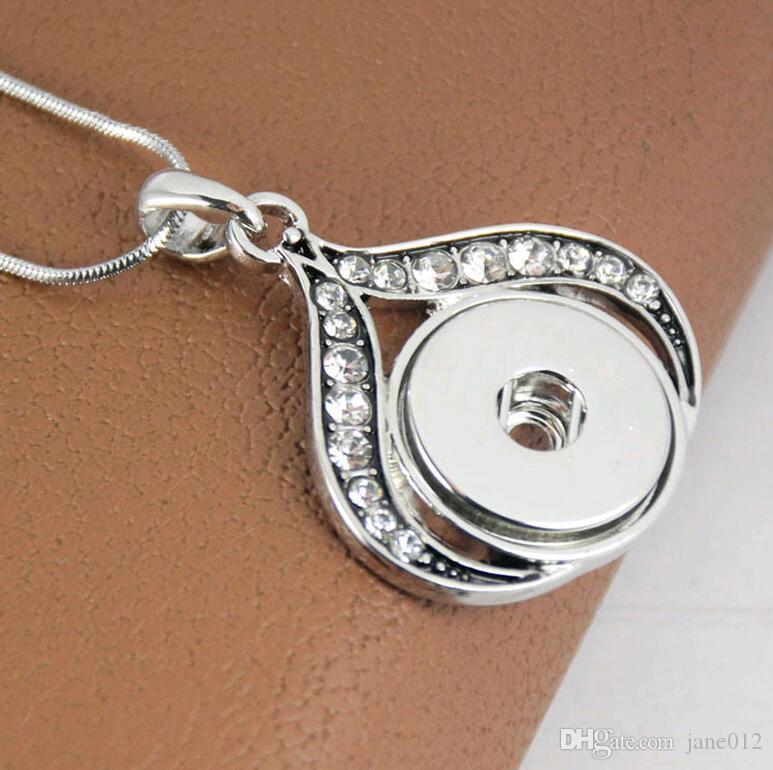 18 MM 20 MM NOOSA snap pedaços botão jóias colar de pingente de strass DIY em forma de flor banhado a ouro branco Noosa pingentes