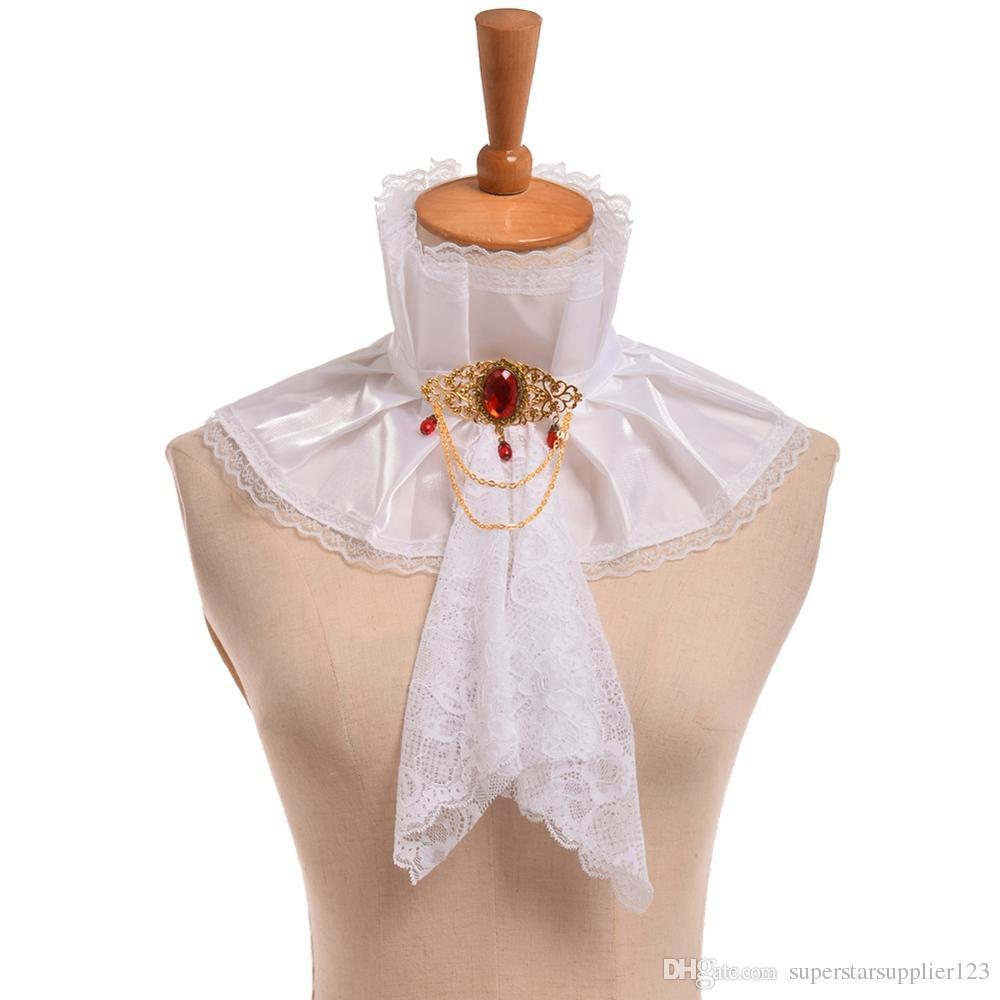 Retro Unisex Renaissance Vampire Style Neck Ruff Steampunk Lady Gentleman Jabot Goth Victorian Detachable Collar Cosplay Accessory