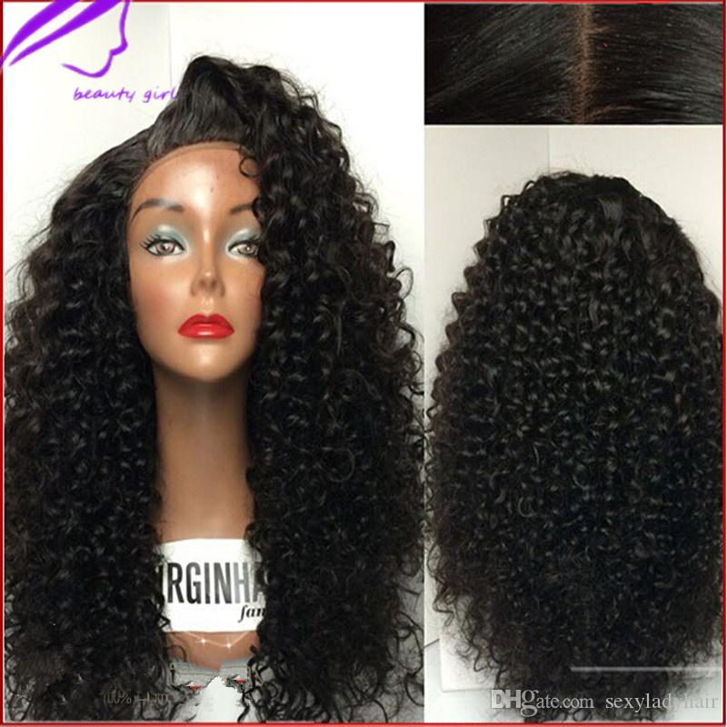 Stock noir côté partie longue crépu afro crépu bouclés boucles perruques synthétique avant de lacet perruque résistant à la chaleur pour les femmes noires