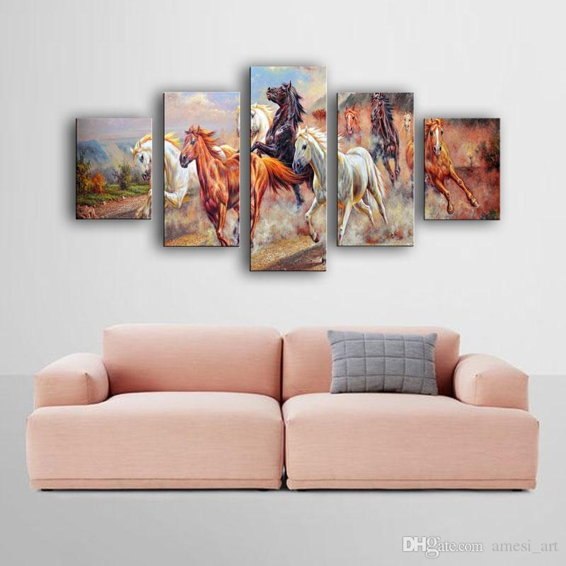 Spirit Up Art Large Running Horses Picture Painting on Canvas Print without Framed Modern Home Decorations Wall Art Animal Horse Painting