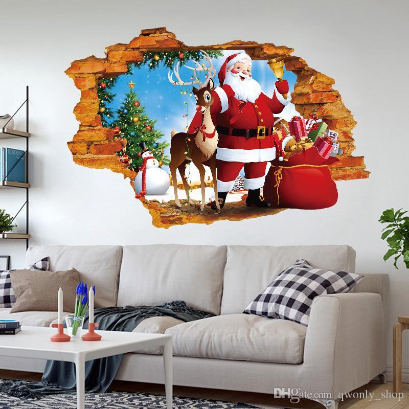 2018 Claus Rentier Wandbild 3D Fenster Wandaufkleber Weihnachten Wandtattoo Kunst Dekoration Fenster Dekorieren Abnehmbare Dekor