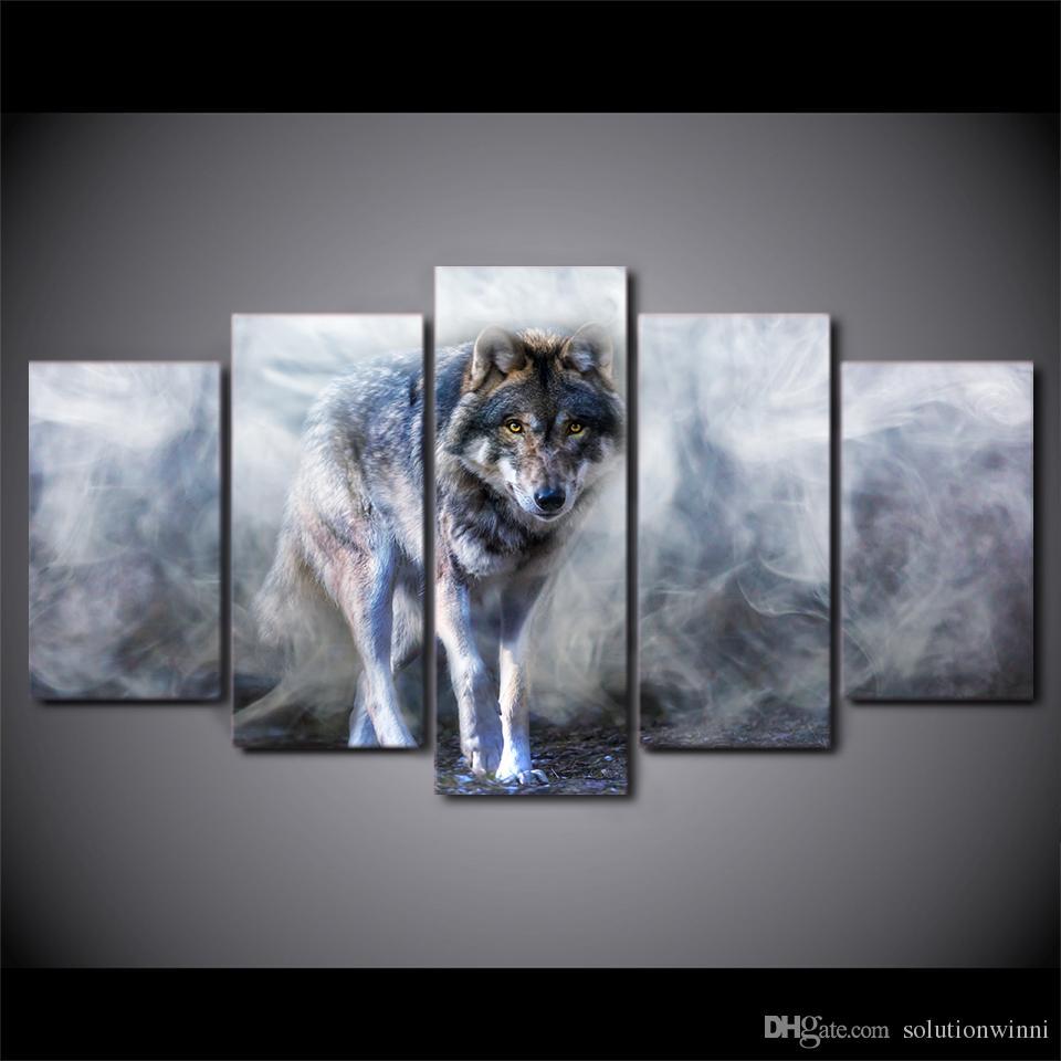 Großhandel 5 Teile / Satz Gerahmte Gedruckt Wolf Malerei Weiß Rauch ...