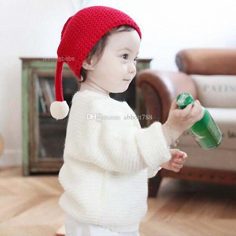 Long Tail Children Caps White Pompon Cute Wool Warm in Winter Solid color Elf Hat Kids Gifts DA006