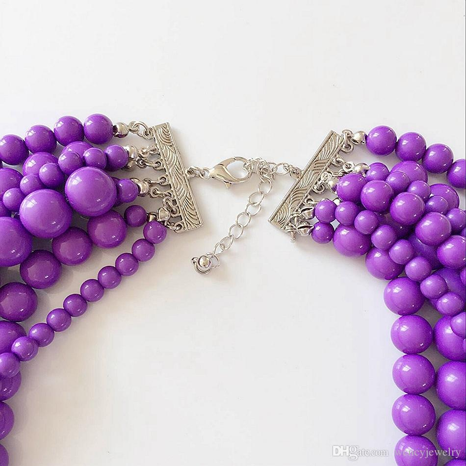 Purple Statement Seven Layered Beaded Necklace, Hand Making Fashion Trendy Necklace, Holiday Women Necklace, Wholesale Jewelry