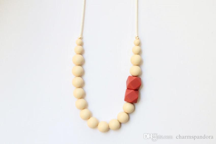 2016 силикон прорезывания зубов бусины ожерелья Шкентеля Chewelry кормящим малышей жевать жевательные прорезывания зубов ожерелье бусины ожерелье-New18 кормящих