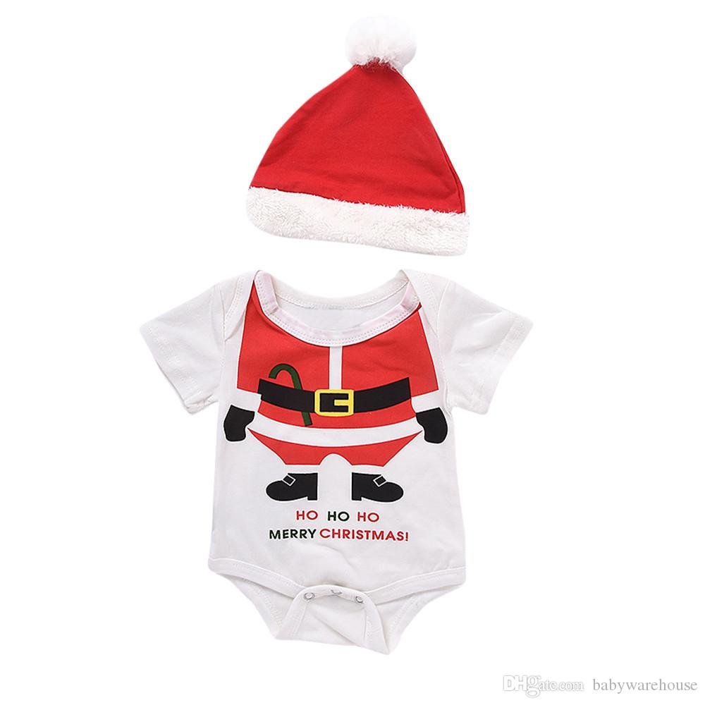 Newborn christmas clothes baby girls boys xmas romper hat santa claus pattern two piece outfits set kids clothing autumn infant clothes
