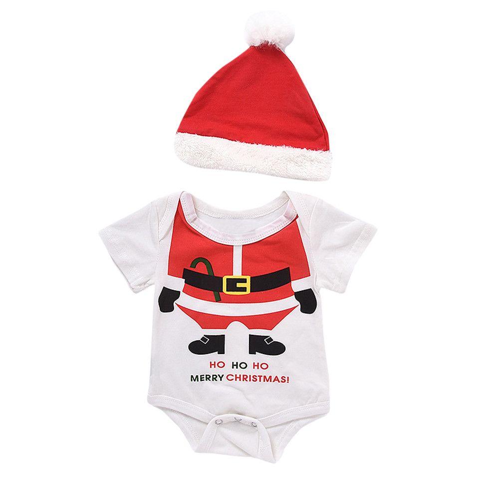 f595a5e34 2019 Newborn Christmas Clothes Baby Girls Boys Xmas Romper+Hat Santa ...