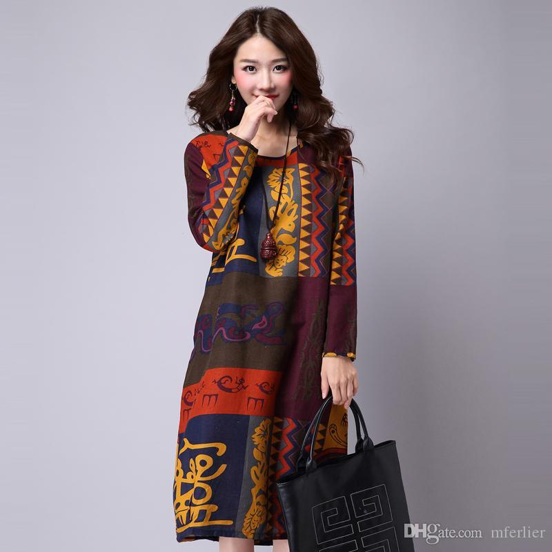 Spring And Summer Dress Loose Plus Size Ethnic Dress Print Casual