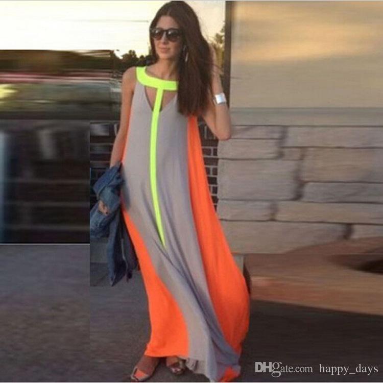 aebe5f24c69dd 2016 Summer Casual Dresses Bright Color Patchwork Sleeveless Sundress Big  Skirt Loose Long Dress Cheap Women Maxi Dresses Sleeveless Dress Big Dress  Big ...