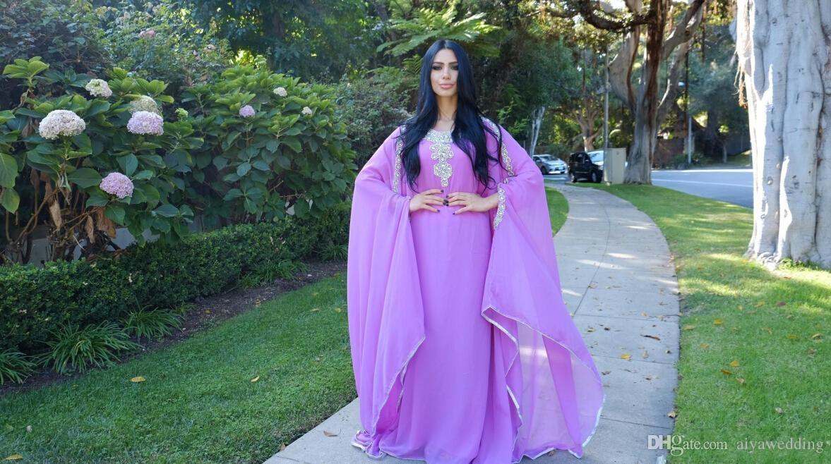Crystals Long Evening Dresses Dubai Long Sleeves Light Purple Chiffon Women Formal Gowns Kaftan Muslim Cheap Goddess Greek Style Vestidos