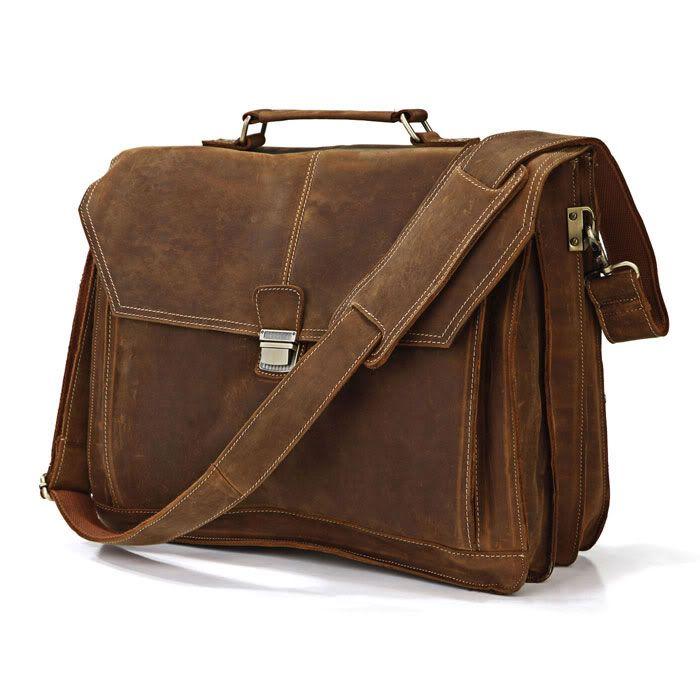 36a84a1be176 Wholesale Vintage Crazy Horse Leather Men Briefcase Large Business Bag  Genuine Leather 15laptop Bag Tote Shoulder Bag Men Portfolio Brown Leather  Purses ...