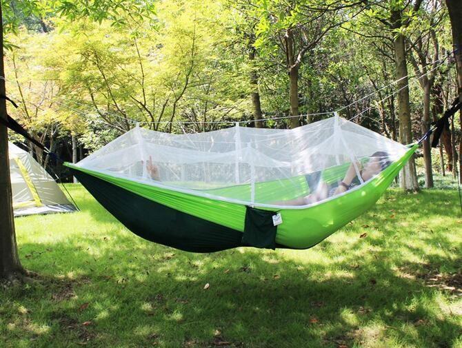 Sinek teli ip hamak sandalye Taşınabilir salıncak çekyatlı 2person Kamp Hamak Hafif Naylon Paraşüt çift Hamak yatak