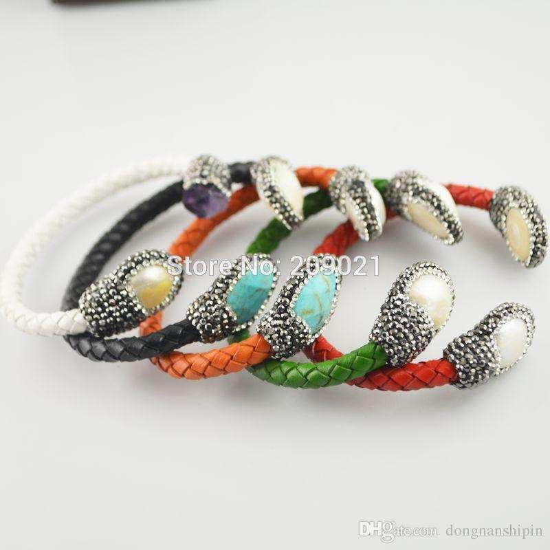 Encantos ~ 5 piezas turquesa, perla, amatista, pavé con diamantes de imitación pulsera de brazaletes de cuero en el color de joyería mixta