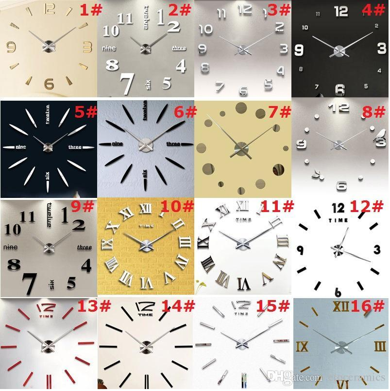 New Diy Large Wall Clock Home Office Room Decor 3d Mirror Surface ...