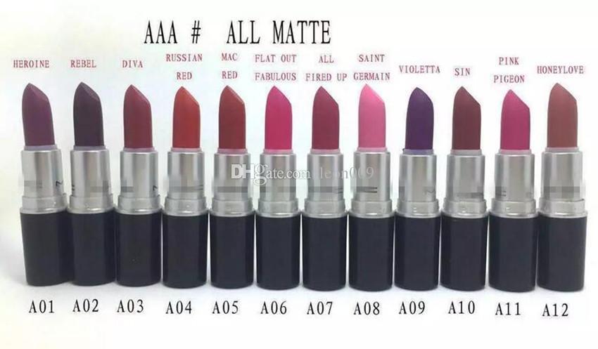 Lápiz labial famosa marca de calidad superior caliente nuevo maquillaje MATTE LIP STICK HAUTECORE NEGRO lápices labiales 3G cosméticos 120 unids / lote