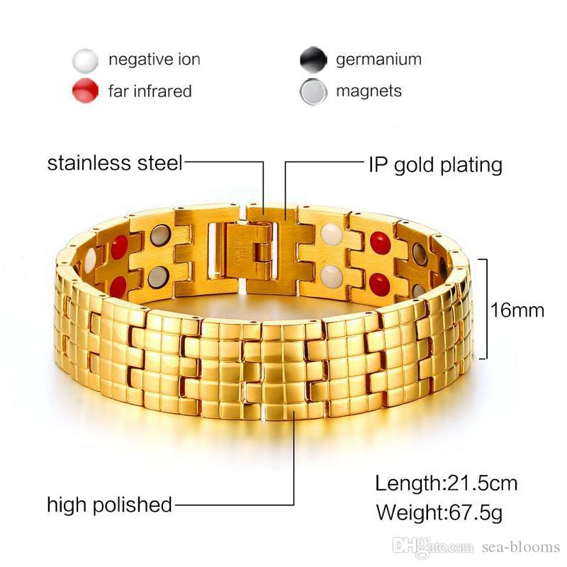 Gold Color 16mm Stainless Steel Health Care Magnetic Bracelet Men Jewelry Therapy Balance and Energy Mens Bracelets Fashion Jewelry B876S