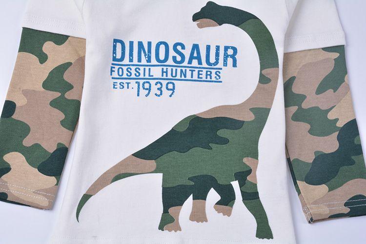FunnyGame17 New Llegada para niños niños 100% algodón manga larga o-cuello de dibujos animados Camuflaje dinosaurio impresión t shirt muchacho primavera otoño camiseta