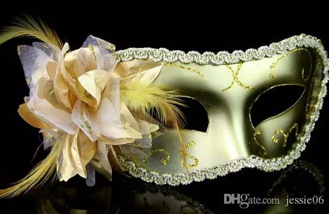 Mode Kvinnor Sexig Mask Hallowmas Venetian Eye Mask Maskerad Masker med Blomma Fjäder Påsk Mask Dance Party Holiday Mask Drop Shipping