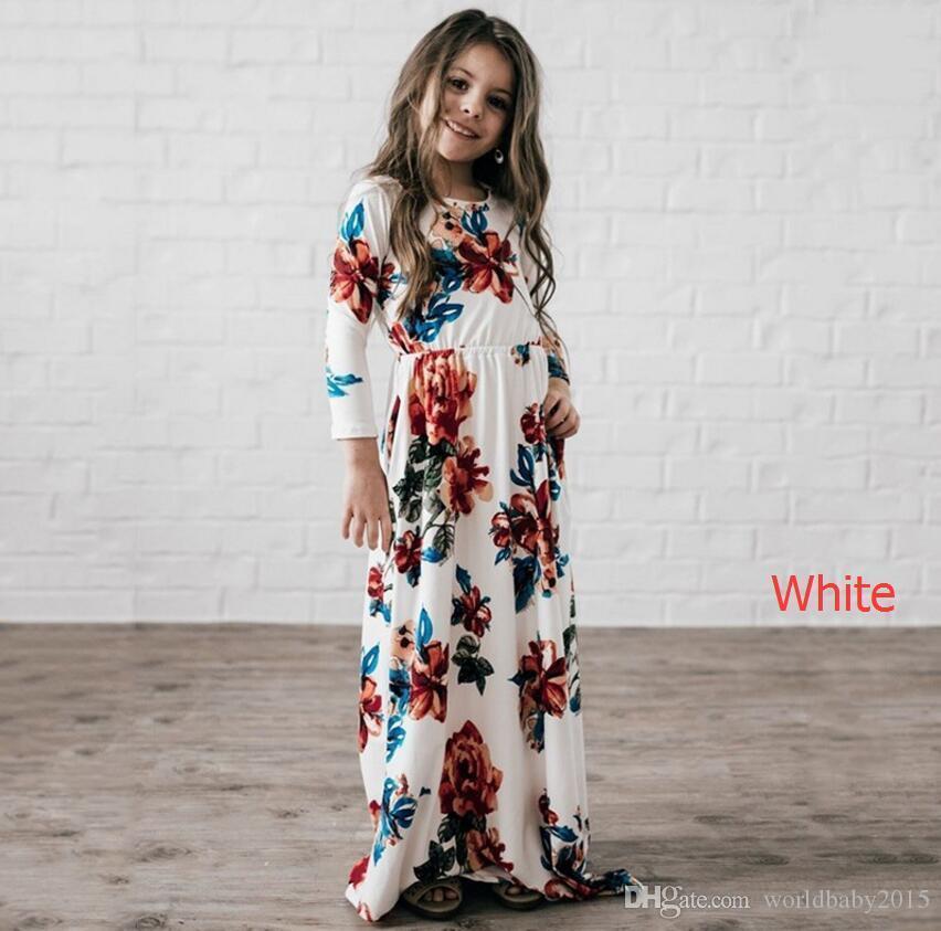 3b630db7b Compre 2018 Vestido Longo Tendência Da Moda Bohemian Vestido Para Meninas Praia  Túnica Floral Outono Maxi Vestidos De Festa De Princesa Crianças Vestidos  De ...