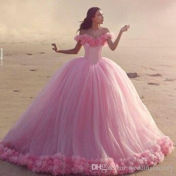 9e38d48e9e0 Gorgeous Princess Ball Gown Wedding Dresses Dream Dress Bridal Gowns 3D  Handmade Flowers Off The Shoulder Luxury Pink Quinceanera Gowns Corset  Wedding ...