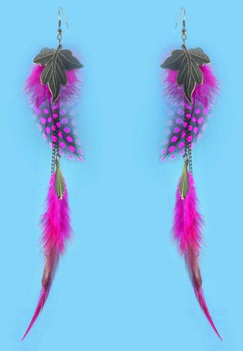 Feather Earrings wholesale Bronze Leaf Charm Chain Light Dangle Eardrop  Teal Brown Blue Orange Yellow Green Purple JF297