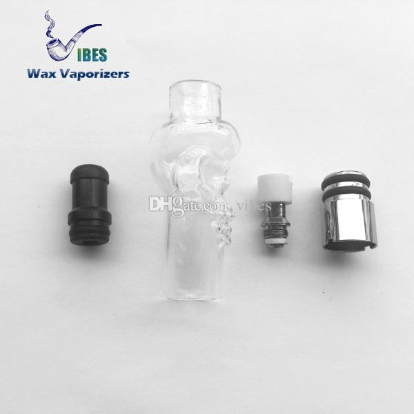 Small Clear Skull Wax Atomizer Skull Glass Globe Atomizer With Replaceable Wax Atomizer Coil Match 510 Thread Ego Batteries