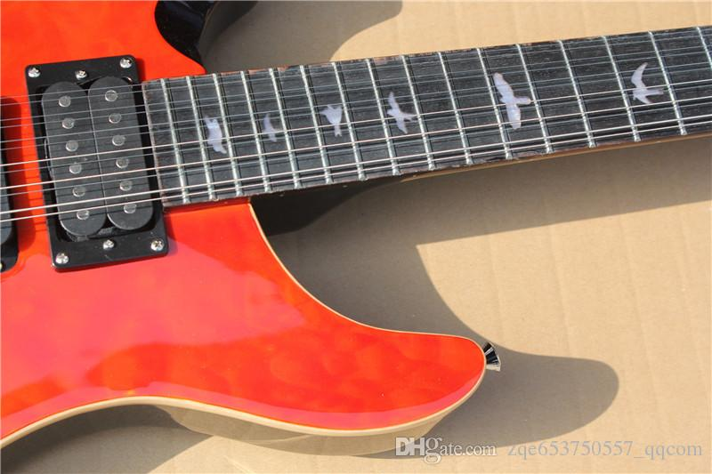 Red 12-String Left-hand Electric Guitar with Quilted Maple Veneer,3 Open Humbucker Pickups and Can be Changed