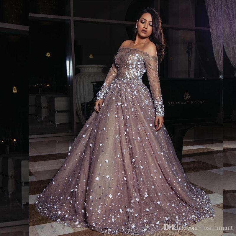 2020 Новое Поступление Бальное Платье Дубай Мусульманский Арабский Кружева Вечерние Платья Лодка Шеи С Длинным Рукавом Цветы