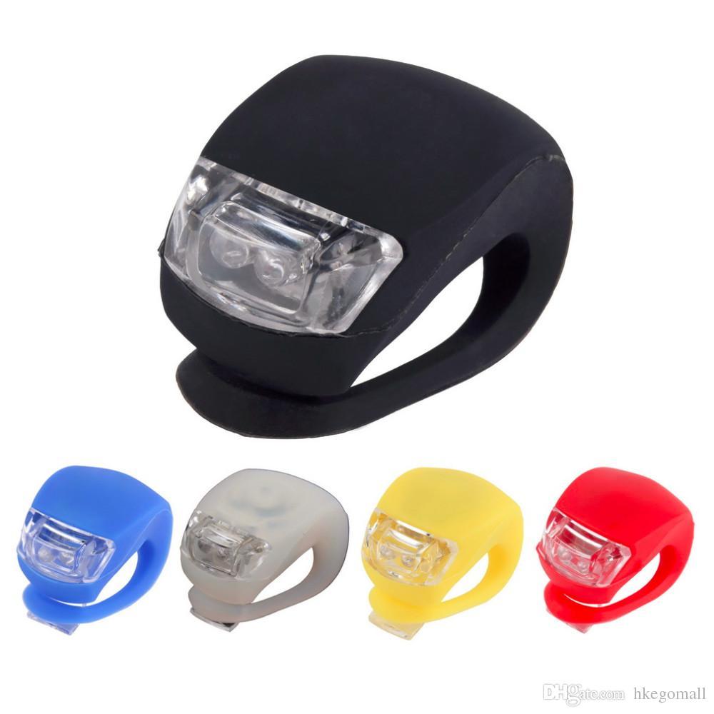 Meilleur En Gros Silicone Vélo Vélo De Mode Tête De Vélo Avant Roue Arrière LED Flash Light Lamp livraison gratuite Vente Chaude